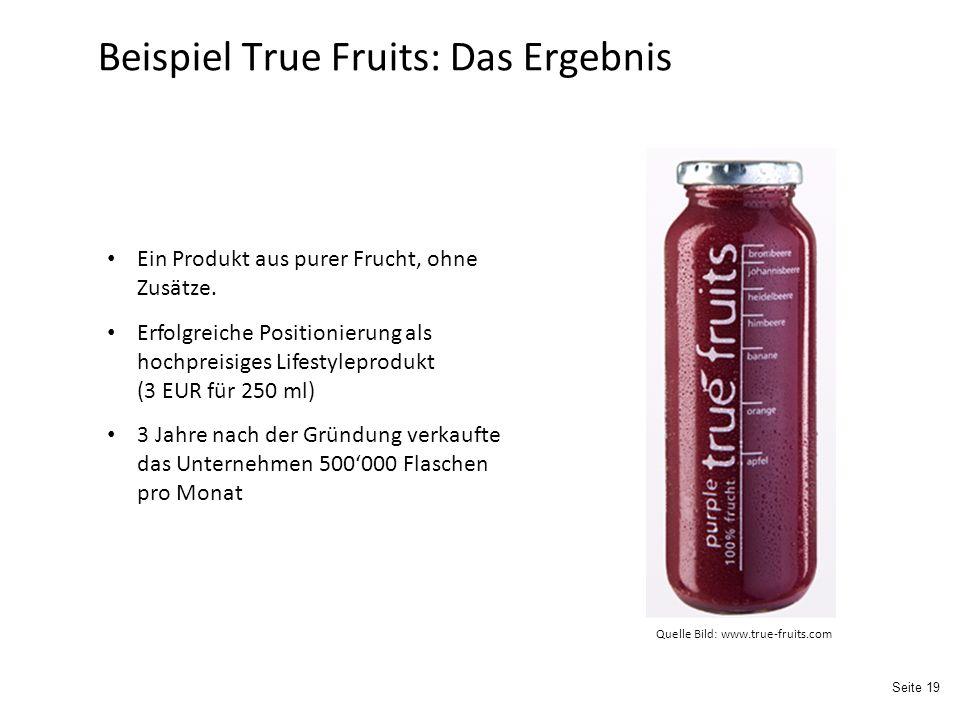 Beispiel True Fruits: Das Ergebnis