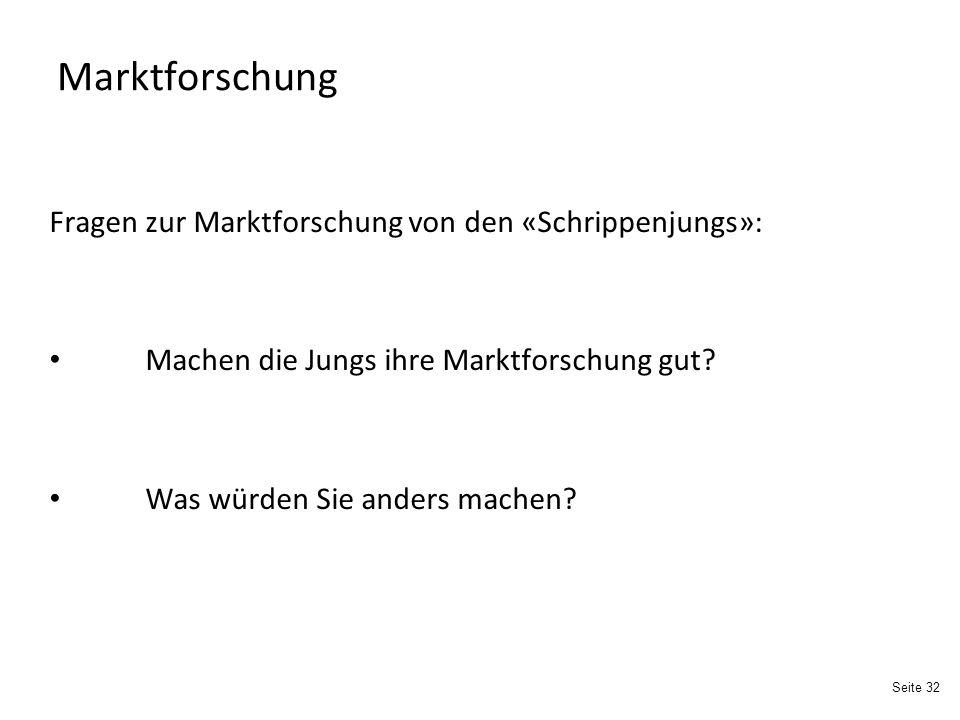 Marktforschung Fragen zur Marktforschung von den «Schrippenjungs»: