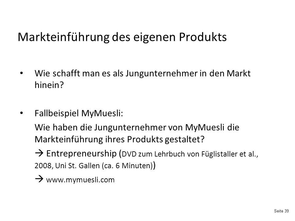 Markteinführung des eigenen Produkts