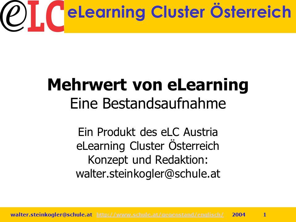 Mehrwert von eLearning Eine Bestandsaufnahme
