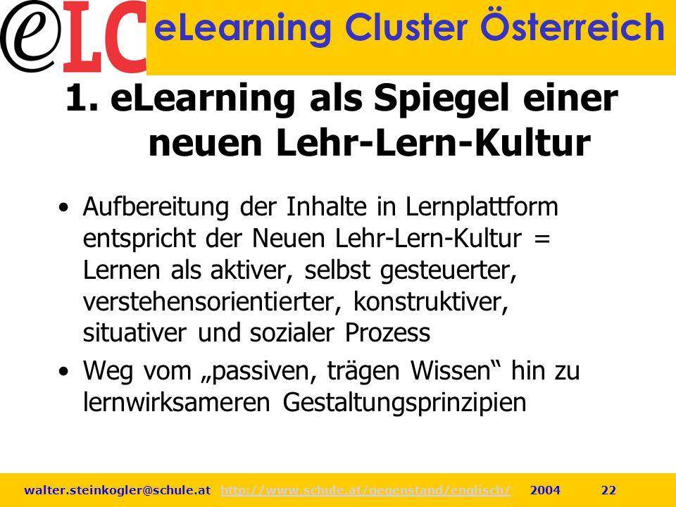 1. eLearning als Spiegel einer neuen Lehr-Lern-Kultur
