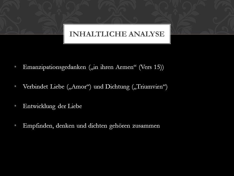 """Inhaltliche Analyse Emanzipationsgedanken (""""in ihren Armen (Vers 15))"""