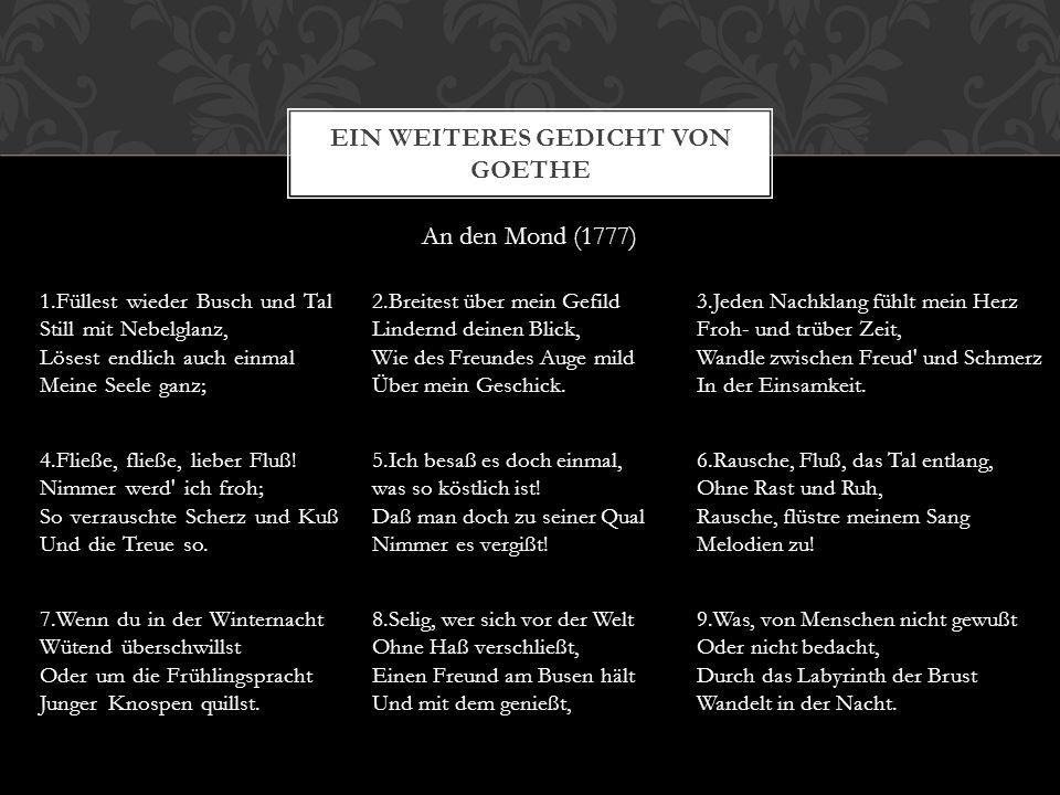 Ein weiteres Gedicht von Goethe