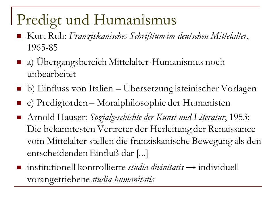 Predigt und Humanismus