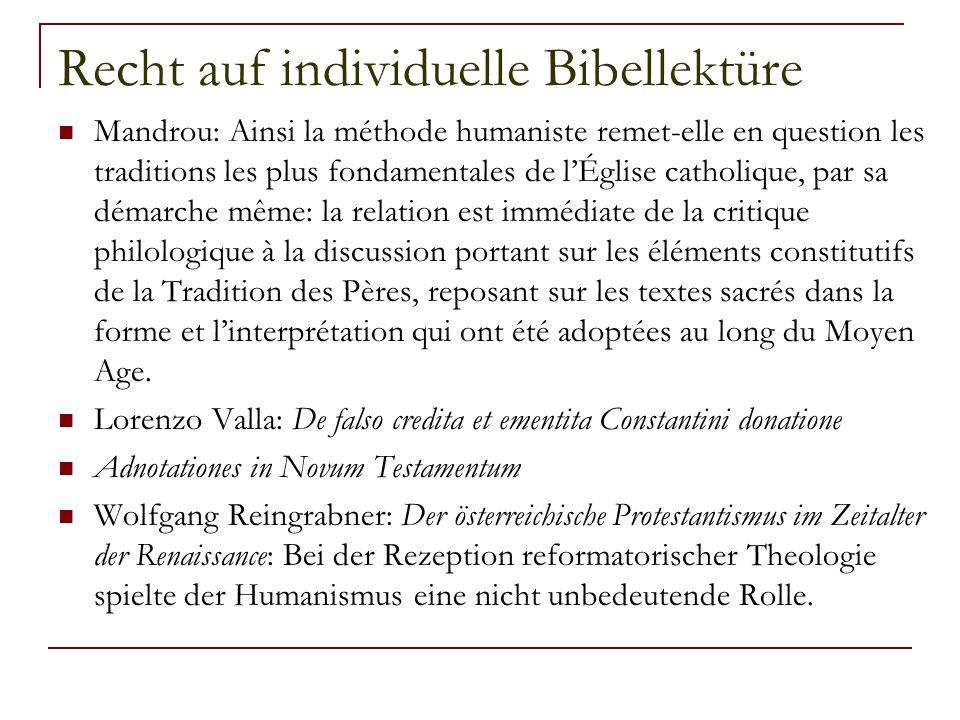 Recht auf individuelle Bibellektüre