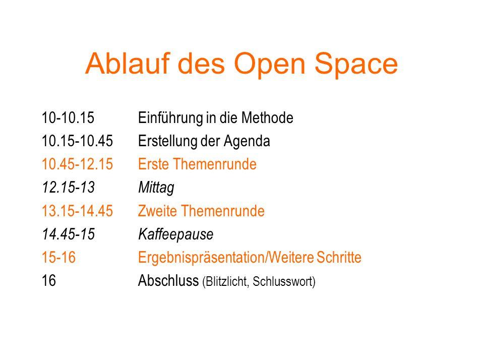 Ablauf des Open Space