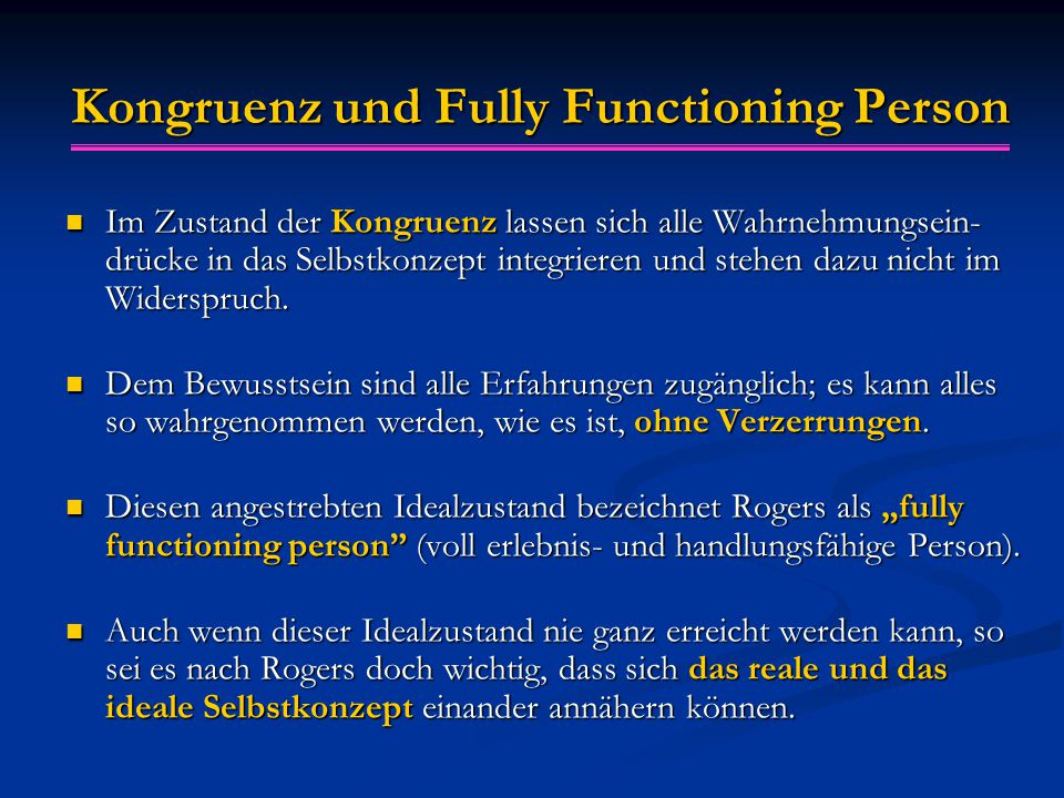 Kongruenz und Fully Functioning Person