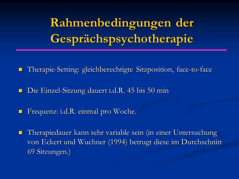 Rahmenbedingungen der Gesprächspsychotherapie