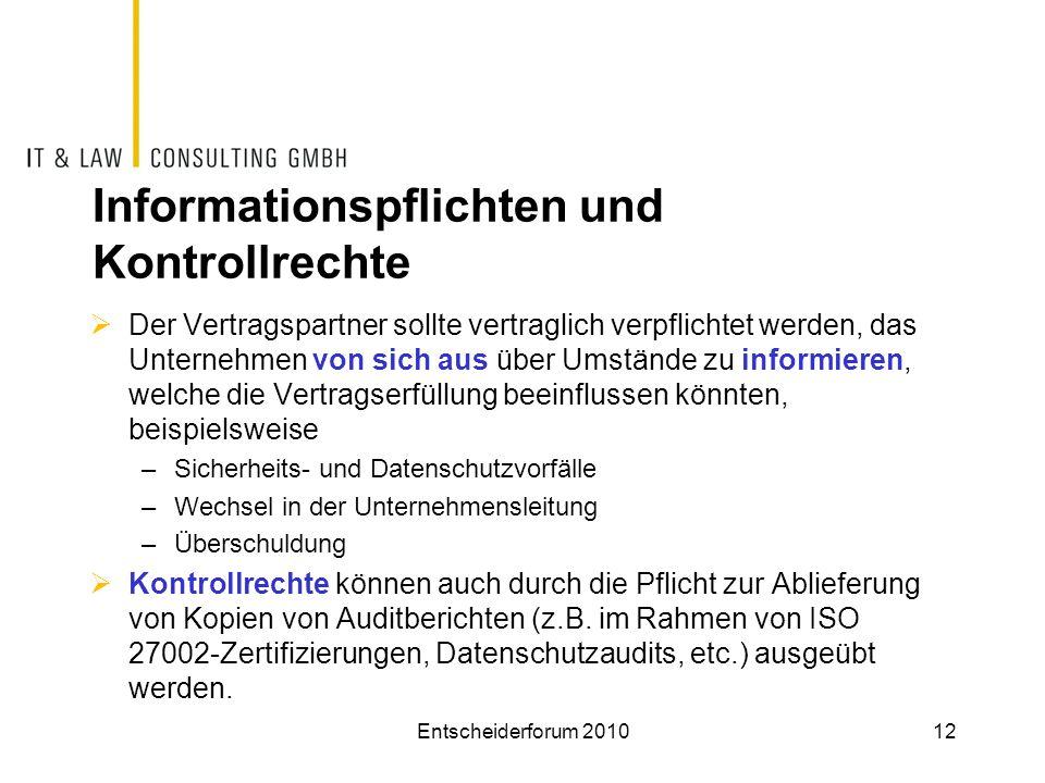 Informationspflichten und Kontrollrechte