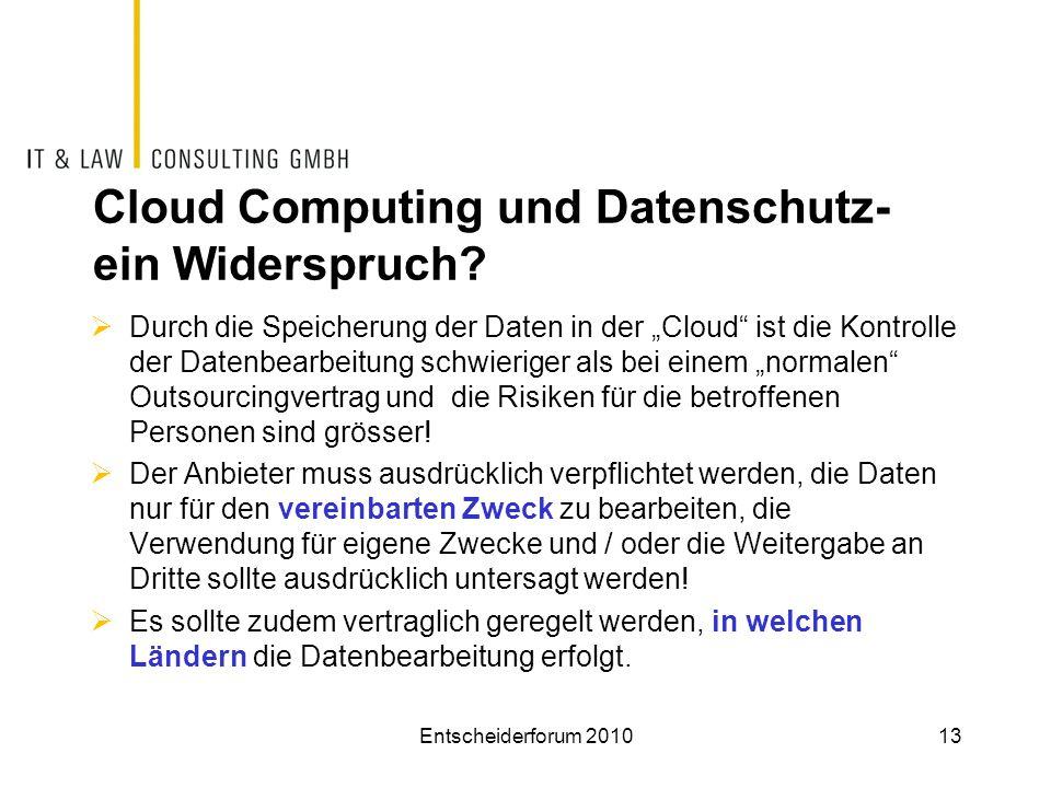 Cloud Computing und Datenschutz- ein Widerspruch