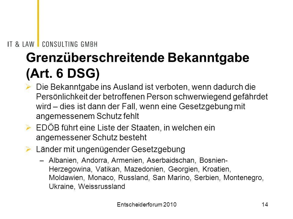 Grenzüberschreitende Bekanntgabe (Art. 6 DSG)
