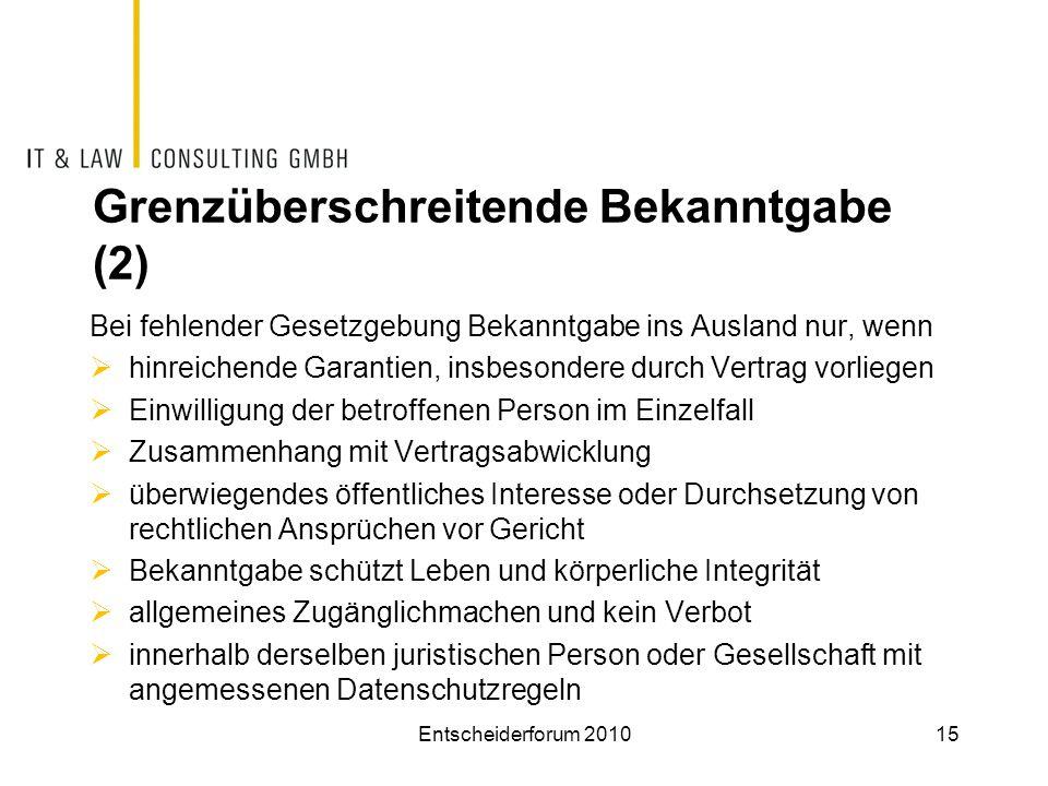 Grenzüberschreitende Bekanntgabe (2)