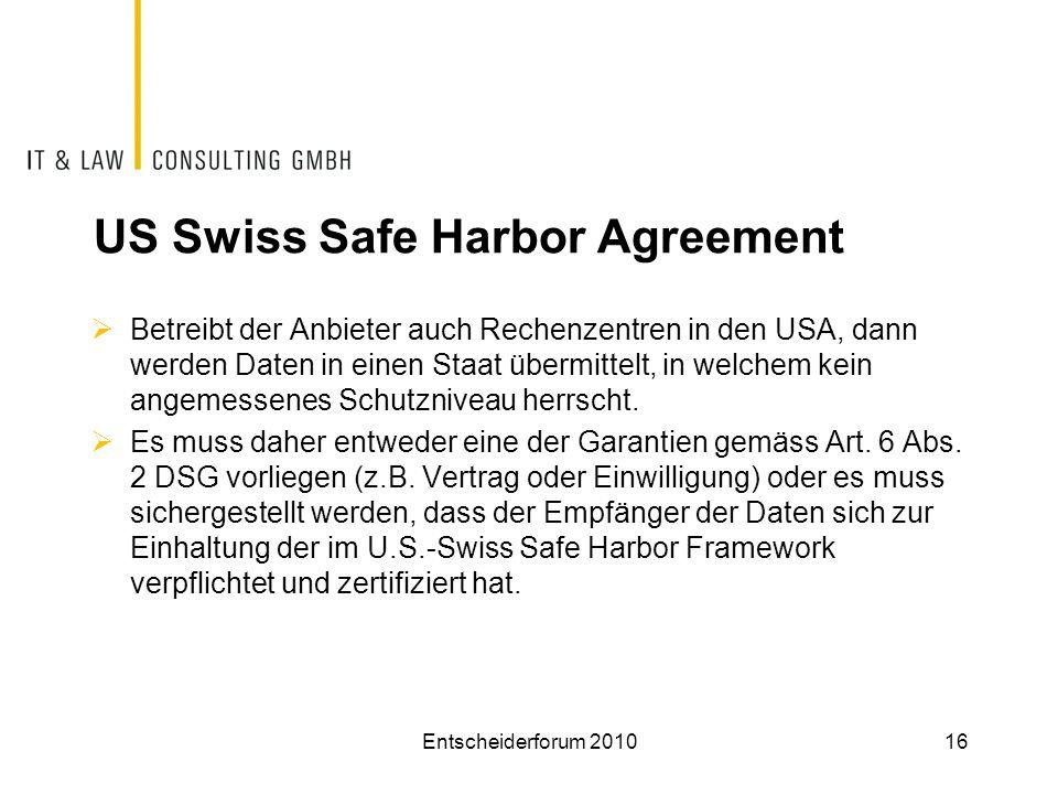 US Swiss Safe Harbor Agreement