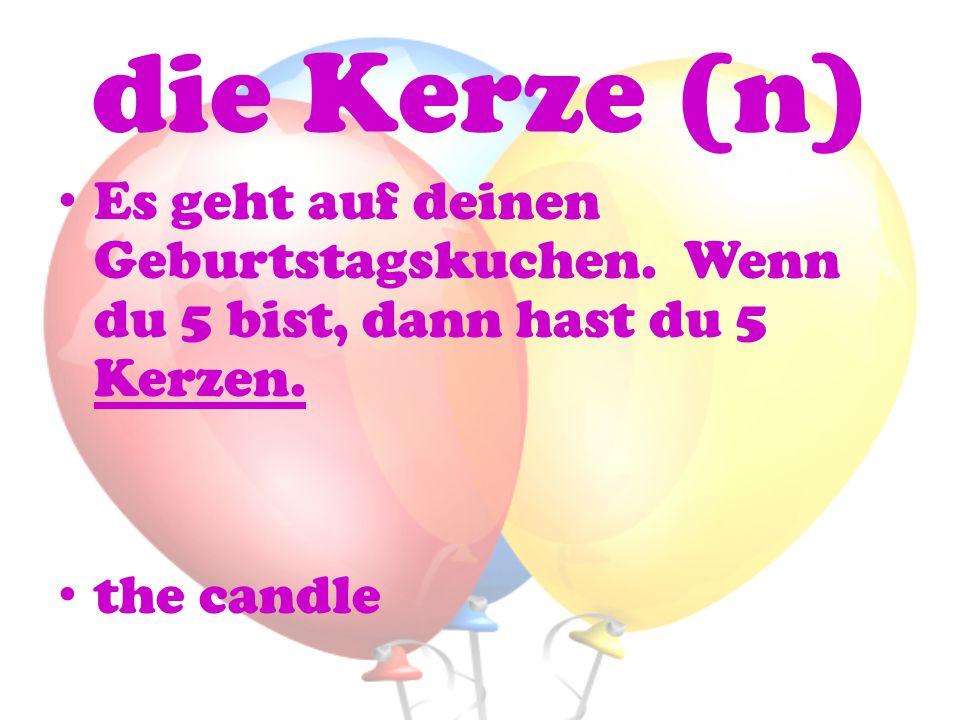 die Kerze (n) Es geht auf deinen Geburtstagskuchen.