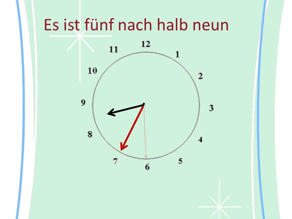 Es ist fünf nach halb neun