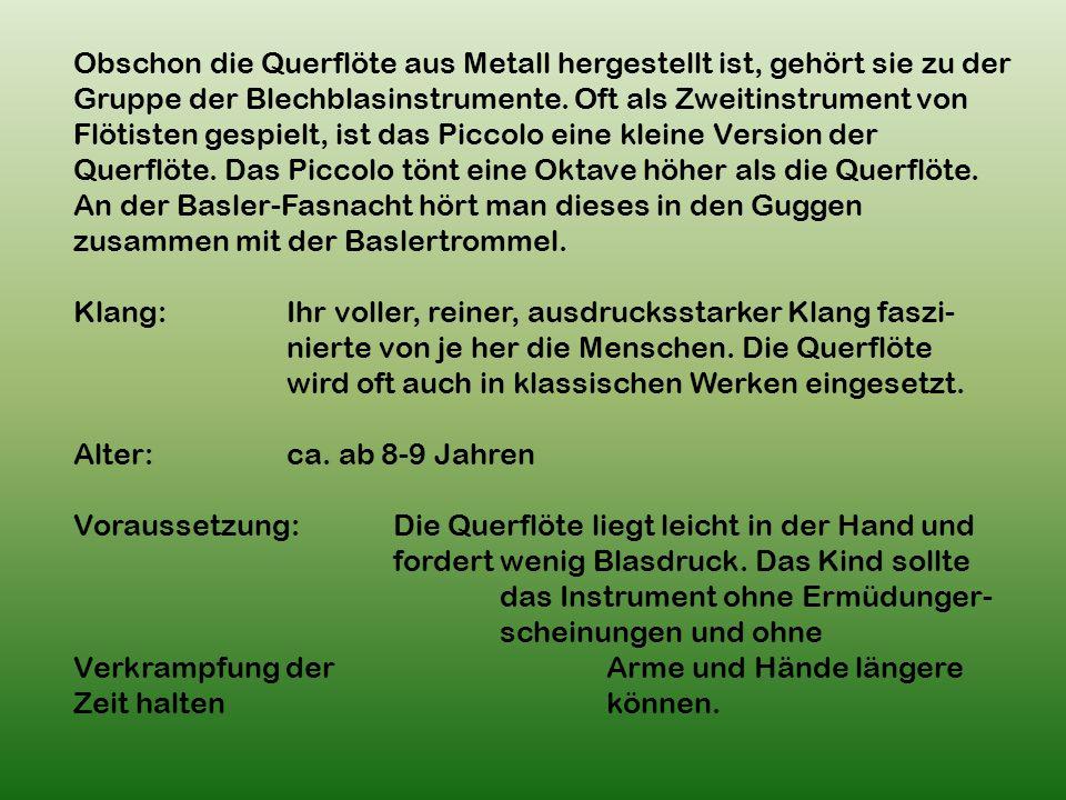 Obschon die Querflöte aus Metall hergestellt ist, gehört sie zu der Gruppe der Blechblasinstrumente.