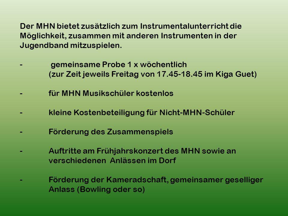 Der MHN bietet zusätzlich zum Instrumentalunterricht die Möglichkeit, zusammen mit anderen Instrumenten in der Jugendband mitzuspielen.