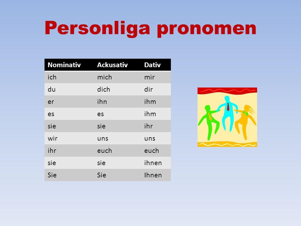 Personliga pronomen Nominativ Ackusativ Dativ ich mich mir du dich dir