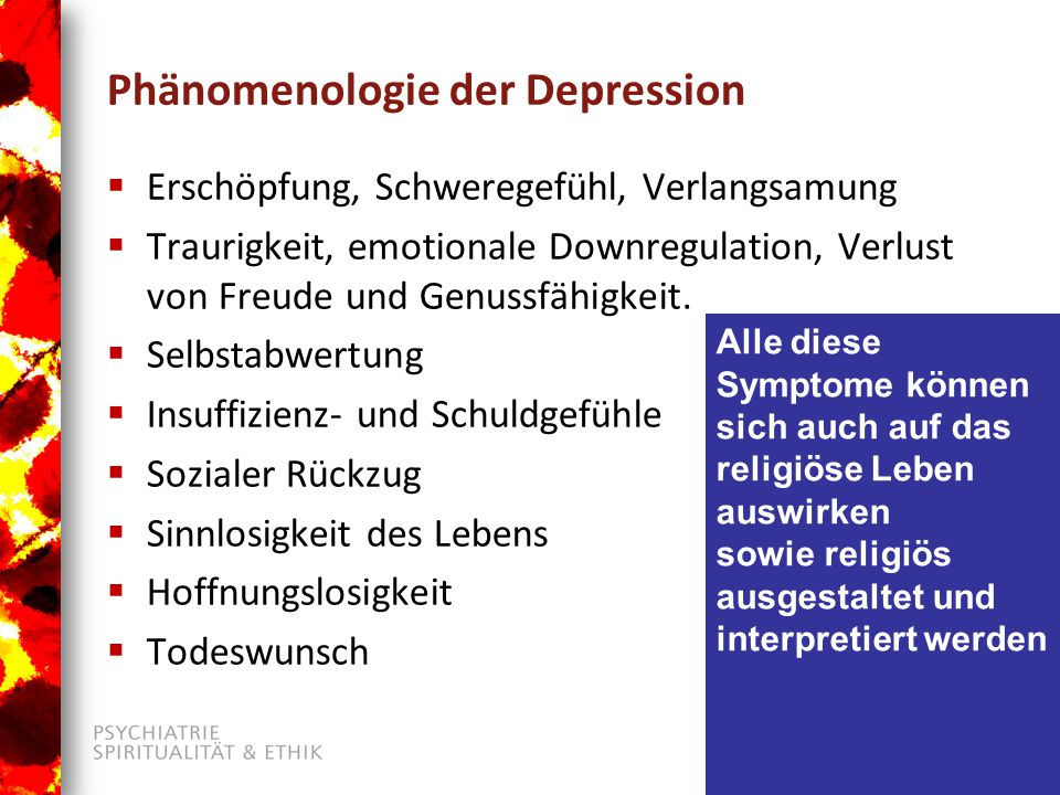 Phänomenologie der Depression