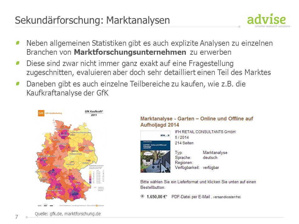 Sekundärforschung: Marktanalysen