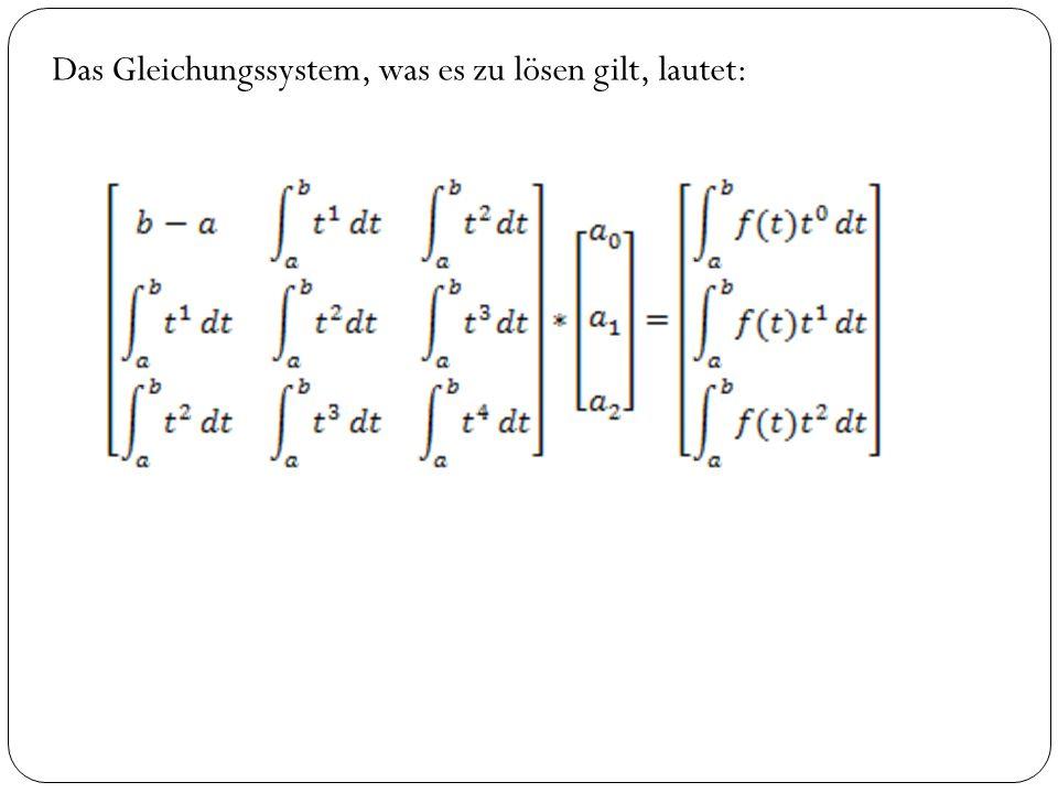 Das Gleichungssystem, was es zu lösen gilt, lautet: