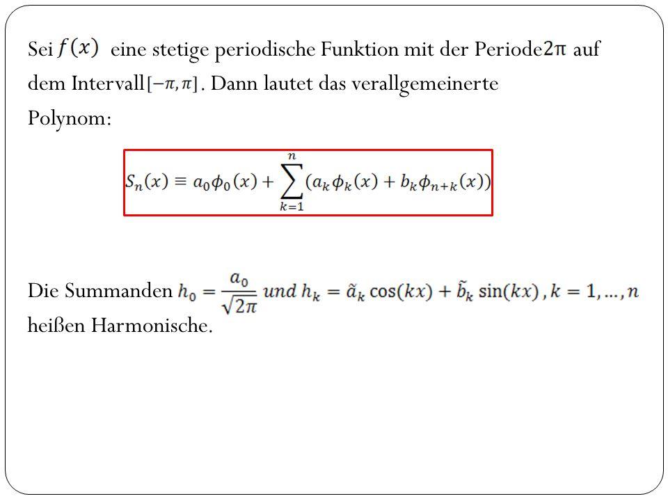 Sei eine stetige periodische Funktion mit der Periode auf dem Intervall .