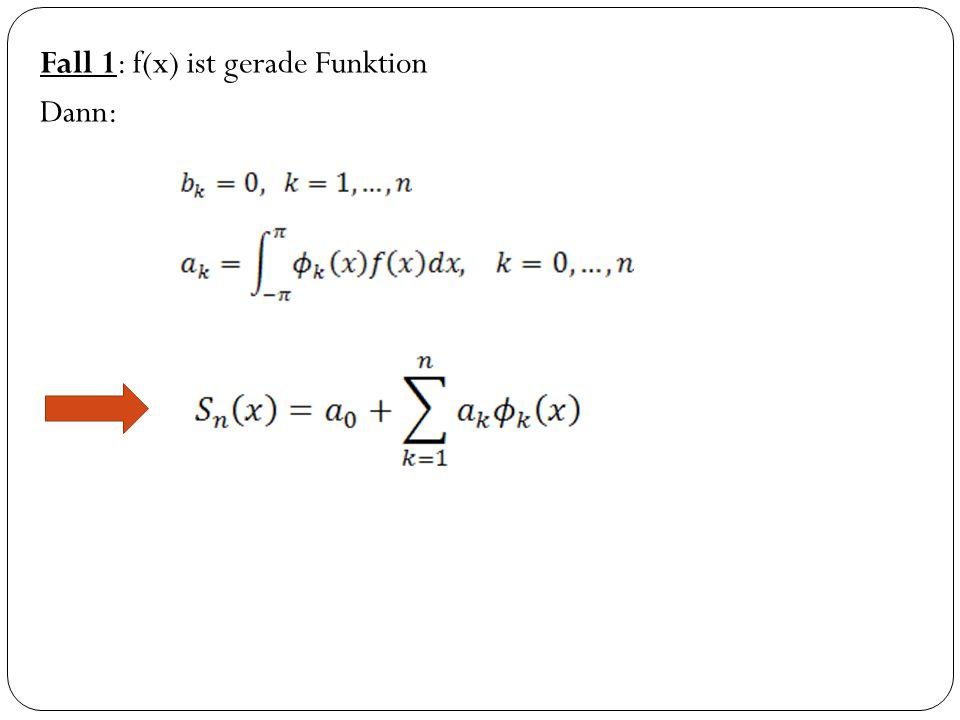 Fall 1: f(x) ist gerade Funktion Dann: