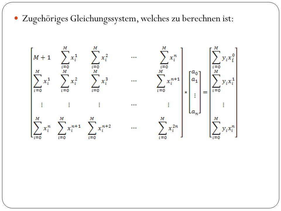 Zugehöriges Gleichungssystem, welches zu berechnen ist: