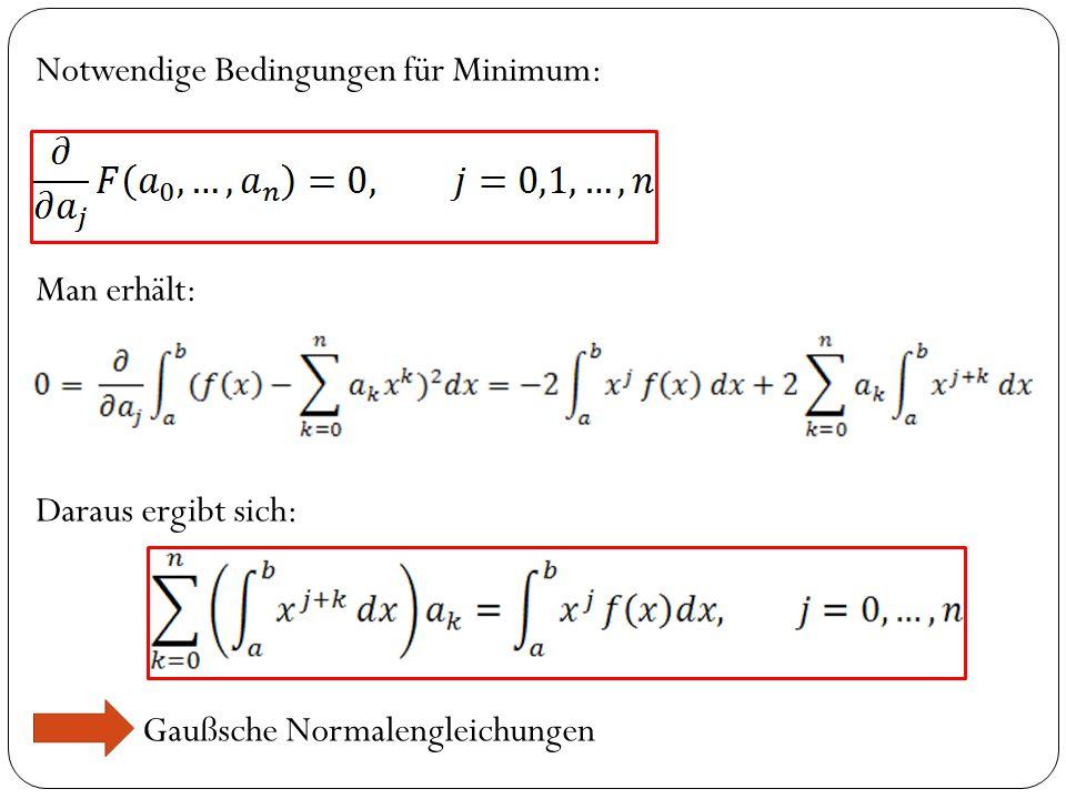 Notwendige Bedingungen für Minimum: Man erhält: Daraus ergibt sich: Gaußsche Normalengleichungen