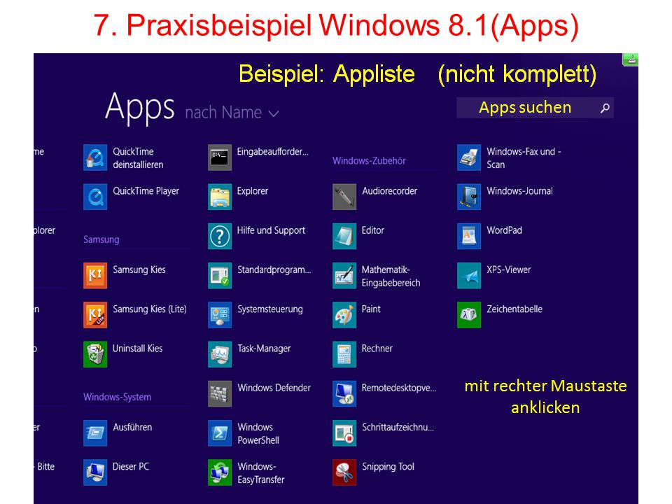 7. Praxisbeispiel Windows 8.1(Apps)