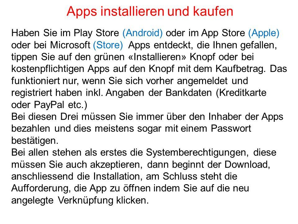Apps installieren und kaufen