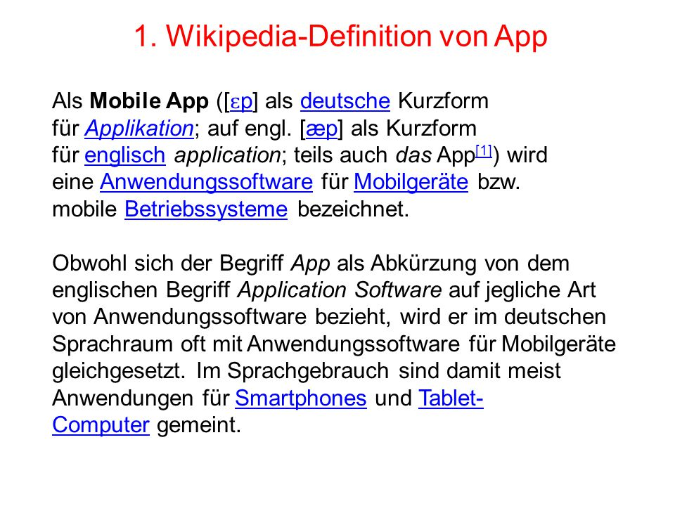1. Wikipedia-Definition von App