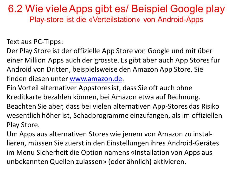 6.2 Wie viele Apps gibt es/ Beispiel Google play