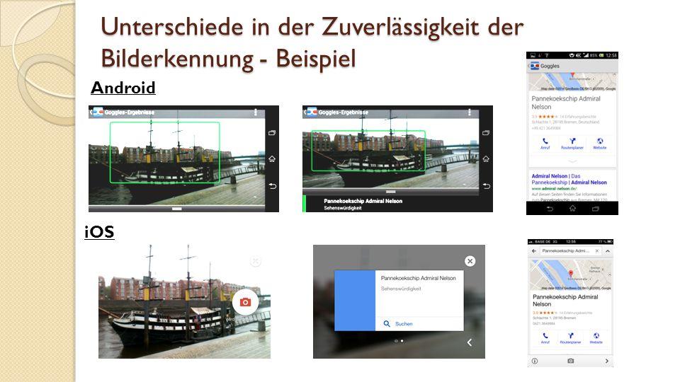 Unterschiede in der Zuverlässigkeit der Bilderkennung - Beispiel