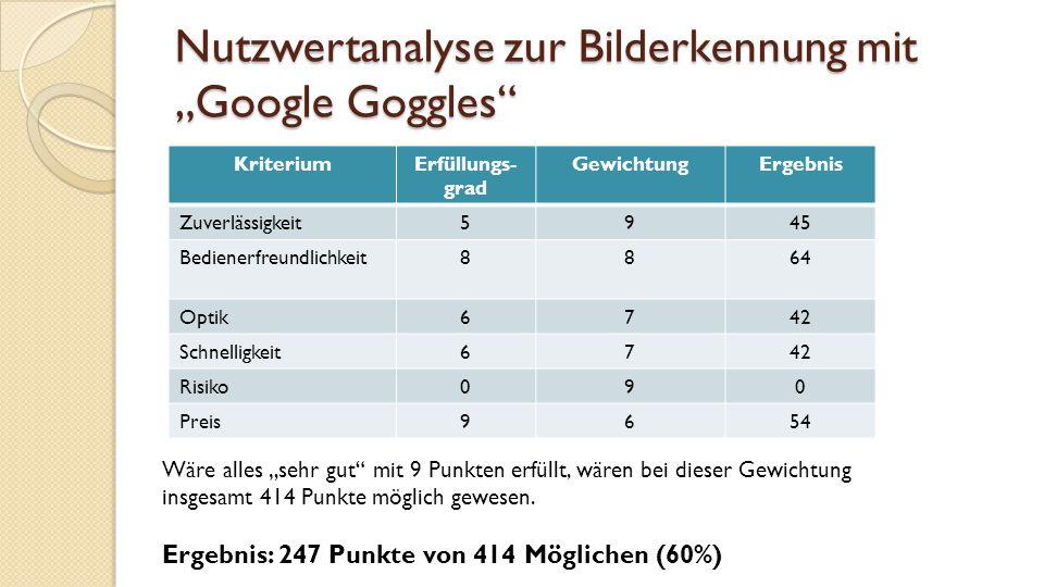 """Nutzwertanalyse zur Bilderkennung mit """"Google Goggles"""
