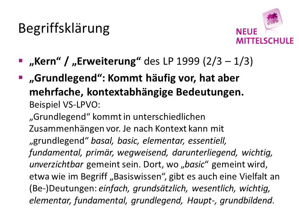 """Begriffsklärung """"Kern / """"Erweiterung des LP 1999 (2/3 – 1/3)"""