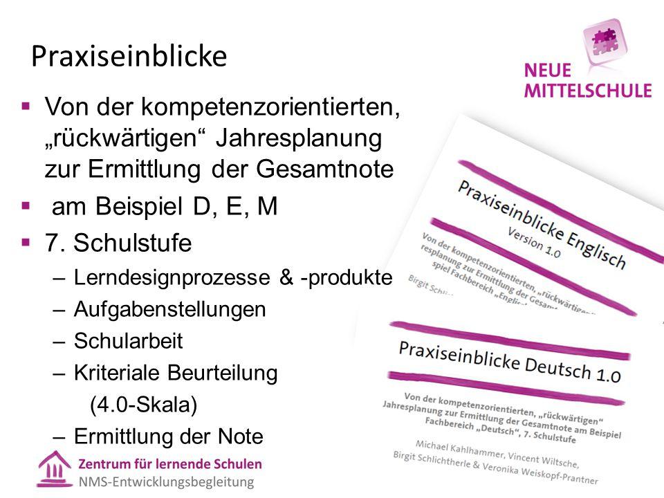 """Praxiseinblicke Von der kompetenzorientierten, """"rückwärtigen Jahresplanung zur Ermittlung der Gesamtnote."""