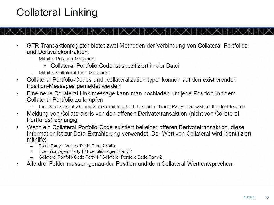 Collateral Linking GTR-Transaktionregister bietet zwei Methoden der Verbindung von Collateral Portfolios und Dertivatekontrakten.