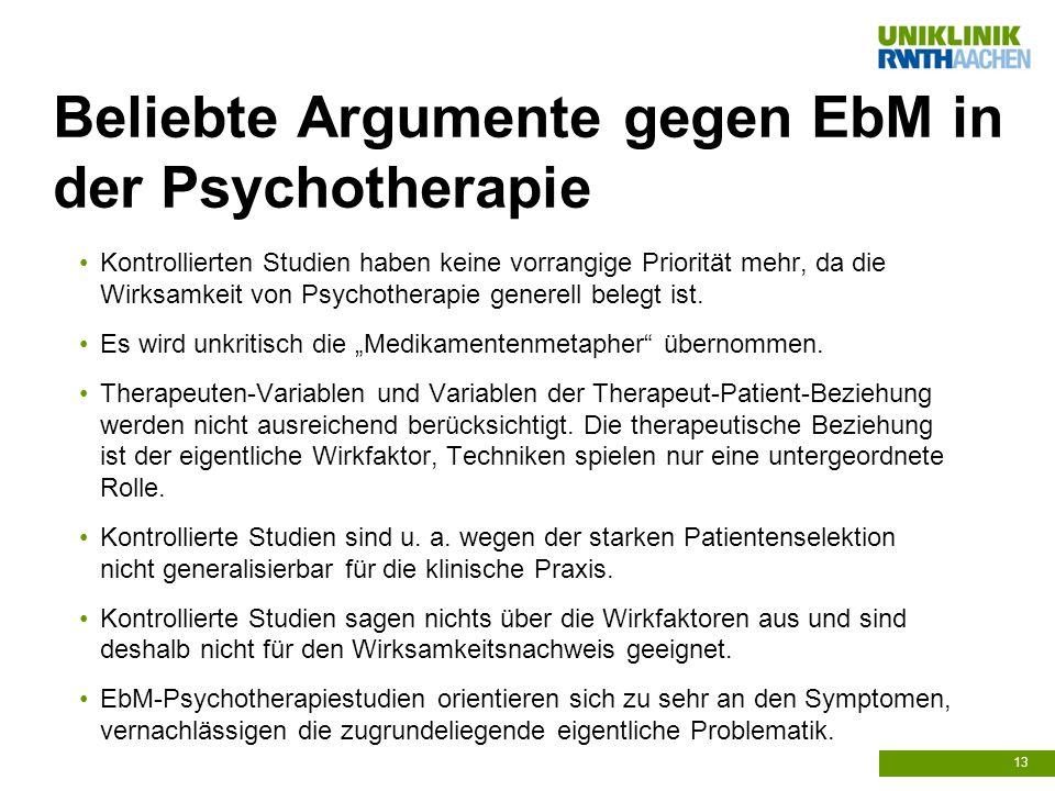Beliebte Argumente gegen EbM in der Psychotherapie