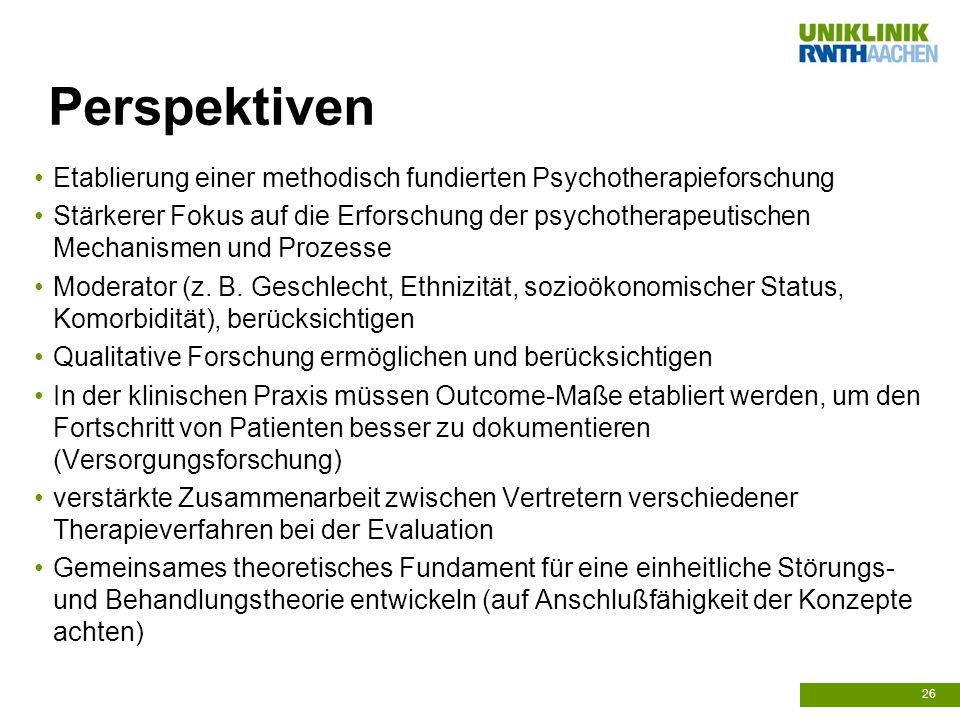 Perspektiven Etablierung einer methodisch fundierten Psychotherapieforschung.