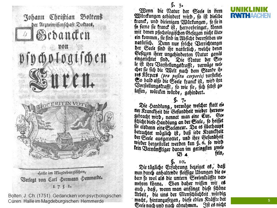 Bolten, J. Ch. (1751). Gedancken von psychologischen Curen