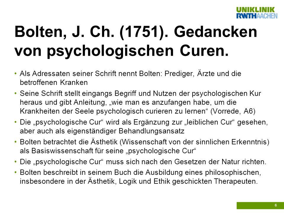 Bolten, J. Ch. (1751). Gedancken von psychologischen Curen.