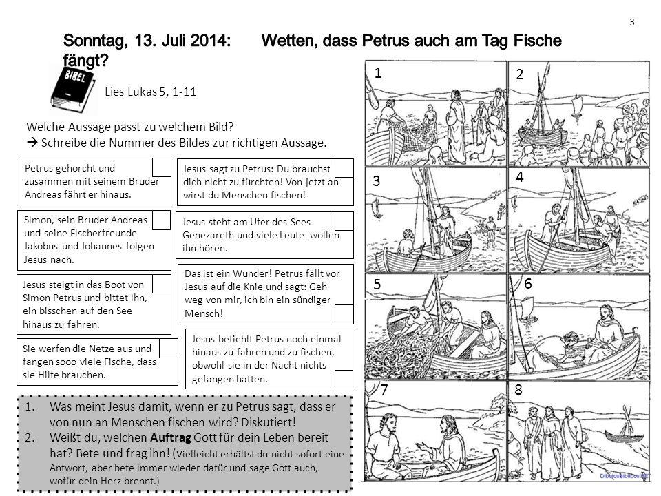 Sonntag, 13. Juli 2014: Wetten, dass Petrus auch am Tag Fische fängt