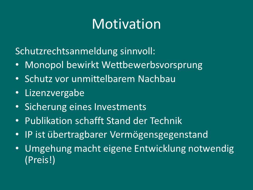 Motivation Schutzrechtsanmeldung sinnvoll:
