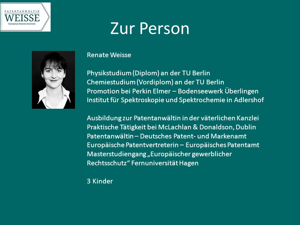 Zur Person Renate Weisse Physikstudium (Diplom) an der TU Berlin