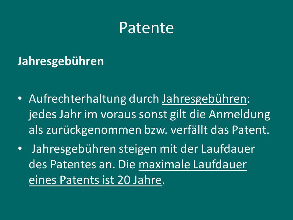 Patente Jahresgebühren