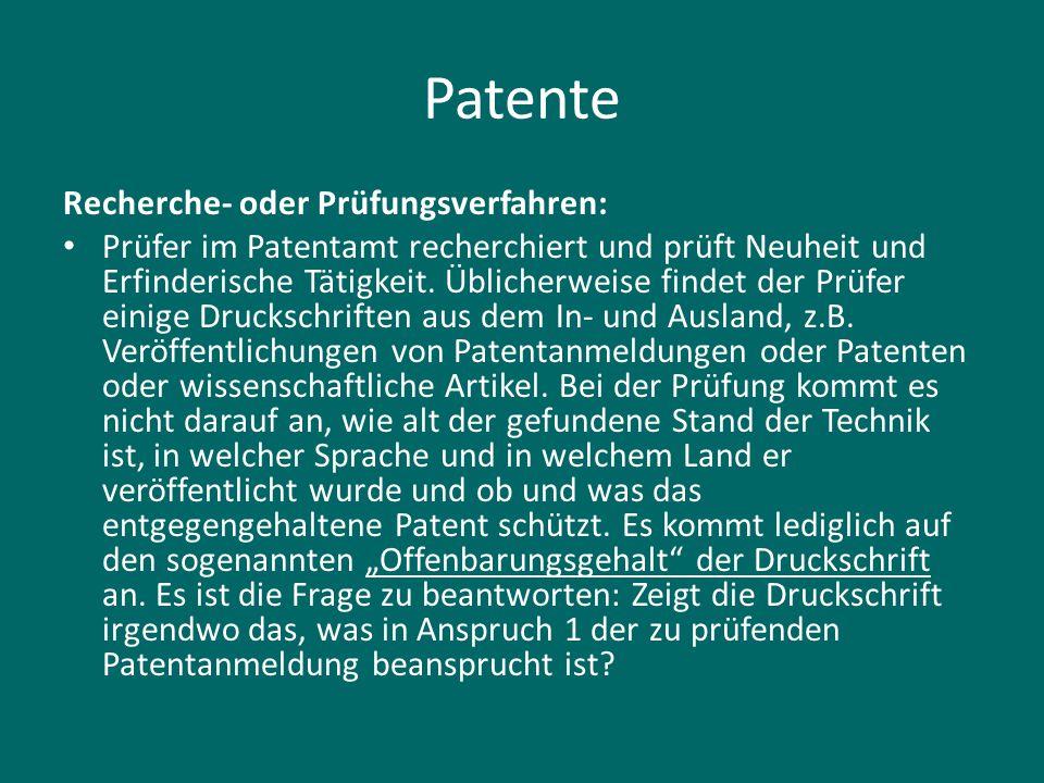 Patente Recherche- oder Prüfungsverfahren: