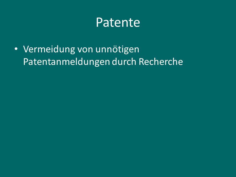 Patente Vermeidung von unnötigen Patentanmeldungen durch Recherche