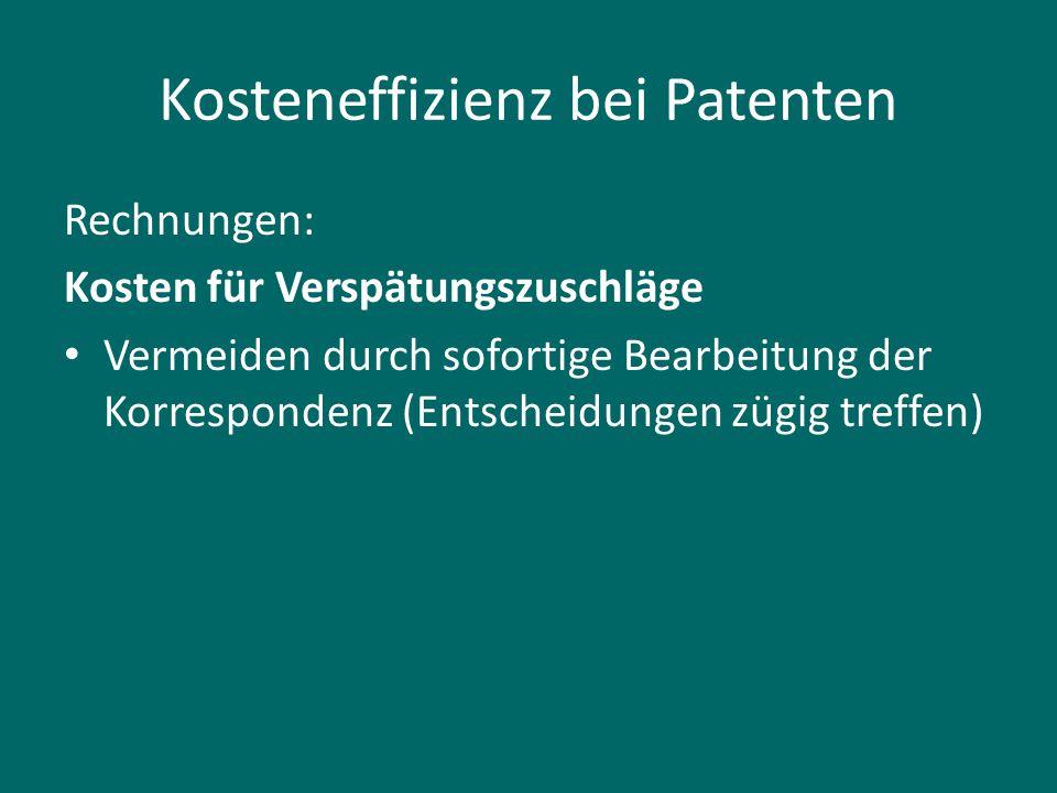 Kosteneffizienz bei Patenten