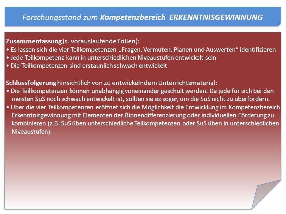 Forschungsstand zum Kompetenzbereich ERKENNTNISGEWINNUNG